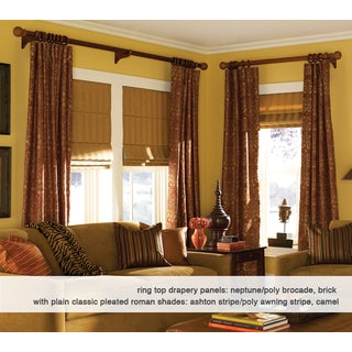 Roman Shades Ashton Stripe Chocolate Plain Fold 46 to 46.5 inches Wide