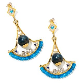 Michael Valitutti Blue Apatite and Blue Sapphire Earring