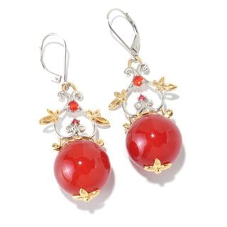 Michael Valitutti Carnelian, Fire Opal and Orange Sapphire Bead Earrings