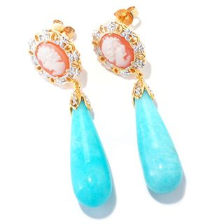 Michael Valitutti Amazonite with Cameo and White Sapphire Drop Earrings