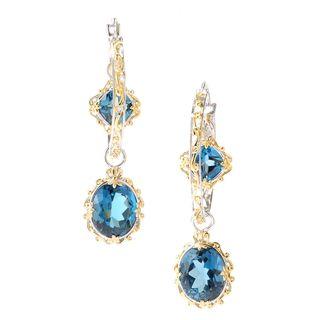Michael Valitutti London Blue Topaz Charm Hoop Earrings