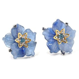 Michael Valitutti Kyanite with Blue Sapphire and London Blue Topaz Flower Earrings