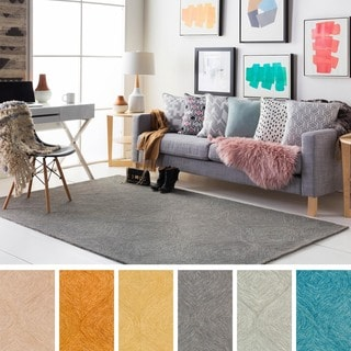 Cory Hand-Tufted Solid Color Trellis Texture Wool Area Rug (5' x 8')