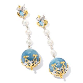 Michael Valitutti Aquamarine with Pearl, Swiss Blue Topaz and White Sapphire Earrings