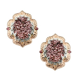 Michael Valitutti Pink Druzy and Orange Sapphire Earrings