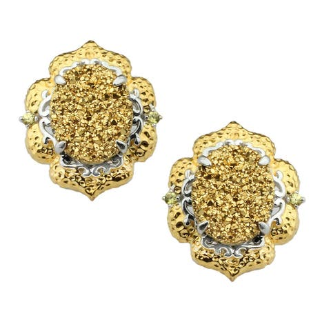 Gems en Vogue Gold Druzy and Yellow Sapphire Earrings