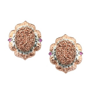 Michael Valitutti Copper Druzy and Pink Sapphire Earrings