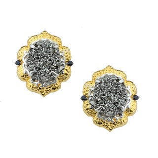 Michael Valitutti Silver Druzy and Blue Sapphire Earrings