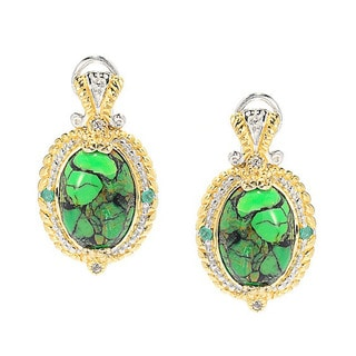 Michael Valitutti Green Mohave Turquoise with Emerald and White Sapphire Earrings