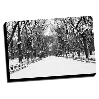 BandW New York Winter City Printed on Framed Ready to Hang Canvas