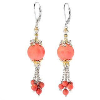 Michael Valitutti Salmon Bamboo Coral with Light Orange Sapphire Earrings