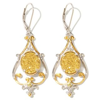 Michael Valitutti Gold Druzy with Yellow Sapphire Earrings