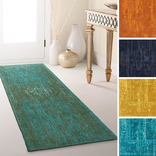 Flatweave Blueway Cotton/ Polyester Rug (2'3 x 12') (Option: Gold)