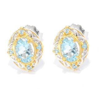 Michael Valitutti Aquamarine and Swiss Blue Topaz Earrings