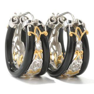 Michael Valitutti Black Onyx with White Sapphire Hoop Earrings