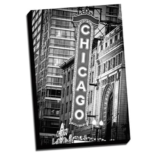 Black and White Chicago Canvas Printed on Ready to Hang Framed Stretched Canvas