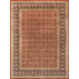 Pasargad Majestic Tabriz Hand-Knotted Rust/Navy Wool Rug (9' x 12')