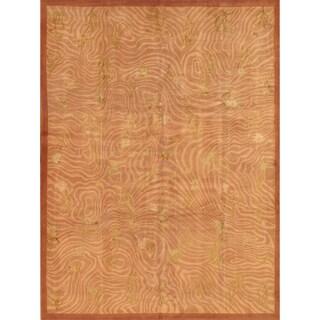 Pasargad Oriental Hand-Knotted Tibetan Peach Silk & Wool Rug (9' x 12')