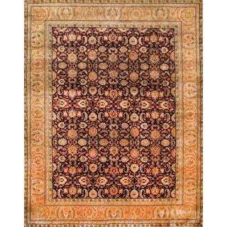 Pasargad Hand-Knotted Classic Agra Burgundy/Gold Wool Rug (9' x 12')|https://ak1.ostkcdn.com/images/products/11654890/P18585841.jpg?impolicy=medium