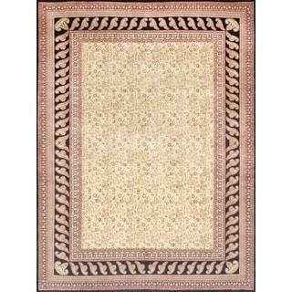 Pasargad Kerman Hand-Knotted Ivory/Black Wool Rug (9' x 12')