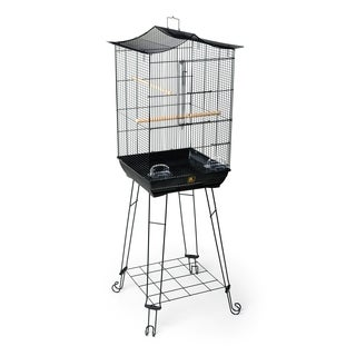 Prevue Pet Products 262 Black Penthouse Suites Crown Roof Cage with Stand