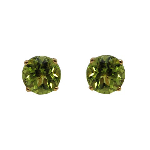 Kabella 14k White Gold Peridot Stud Earring