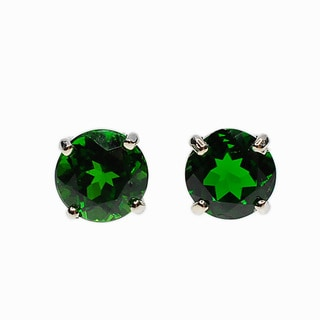 Kabella 14k White Gold Chrome Diopside Round Stud Earrings