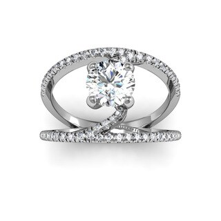 14k White Gold 1 1/2ct. Open Band Engagement Ring with 1ct. Clarity Enhanced Center Diamond - White H-I