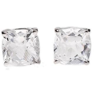 Kabella 14k White Gold White Topaz Cushion Cut Stud Earrings