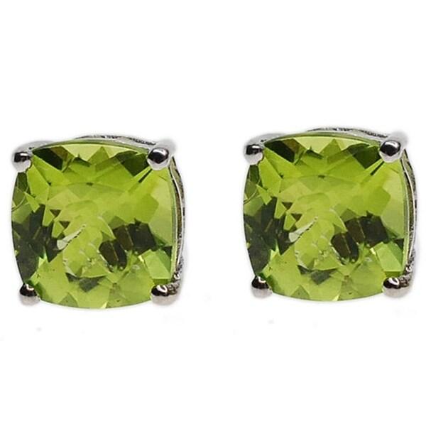 Kabella 14k Gold Cushion Cut Green Peridot Stud Earrings