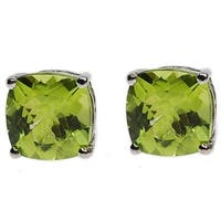Kabella 14k Gold Cushion Cut Green Peridot Stud Earrings