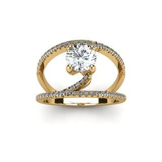 14k Yellow Gold 1 1/2ct Open Band Engagement Ring (H-I, I1-I2)