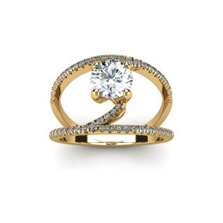 14k Yellow Gold 1 1/2ct Open Band Engagement Ring