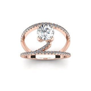 14k Rose Gold 1 1/2ct Open Band Engagement Ring (H-I, I1-I2)