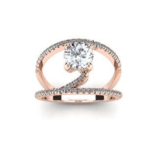 14k Rose Gold 1 1/2ct. Open Band Engagement Ring with 1ct. Clarity Enhanced Center Diamond - White H-I
