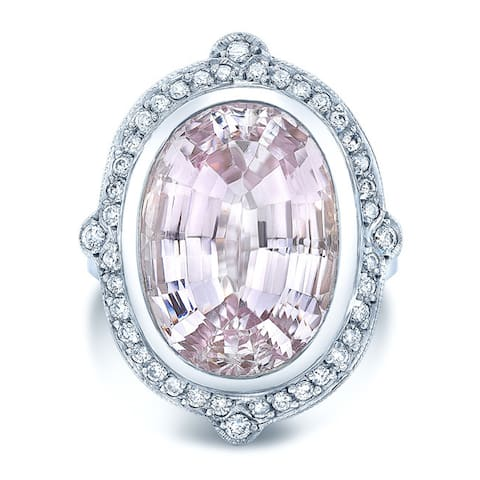 18k White Gold 2/5ct TDW Diamond and Kunzite Cocktail Ring (H-I, VS1-VS2)