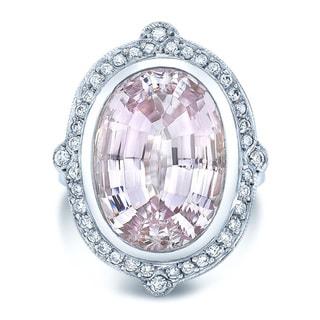 18k White Gold 2/5ct TDW Diamond and Kunzite Cocktail Ring (H-I, VS1-VS2)