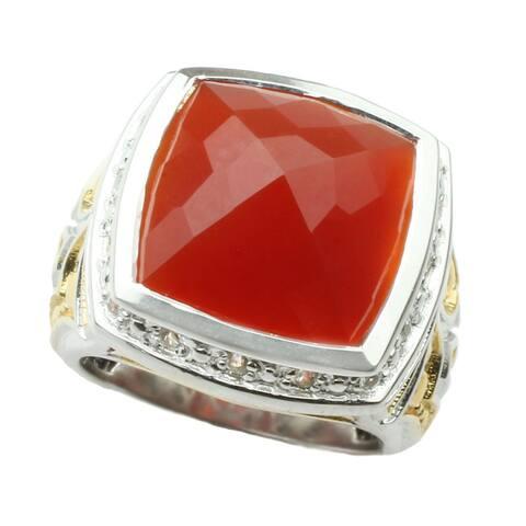 Michael Valitutti Palladium Silver Cushion Red Onyx and White Sapphire Ring