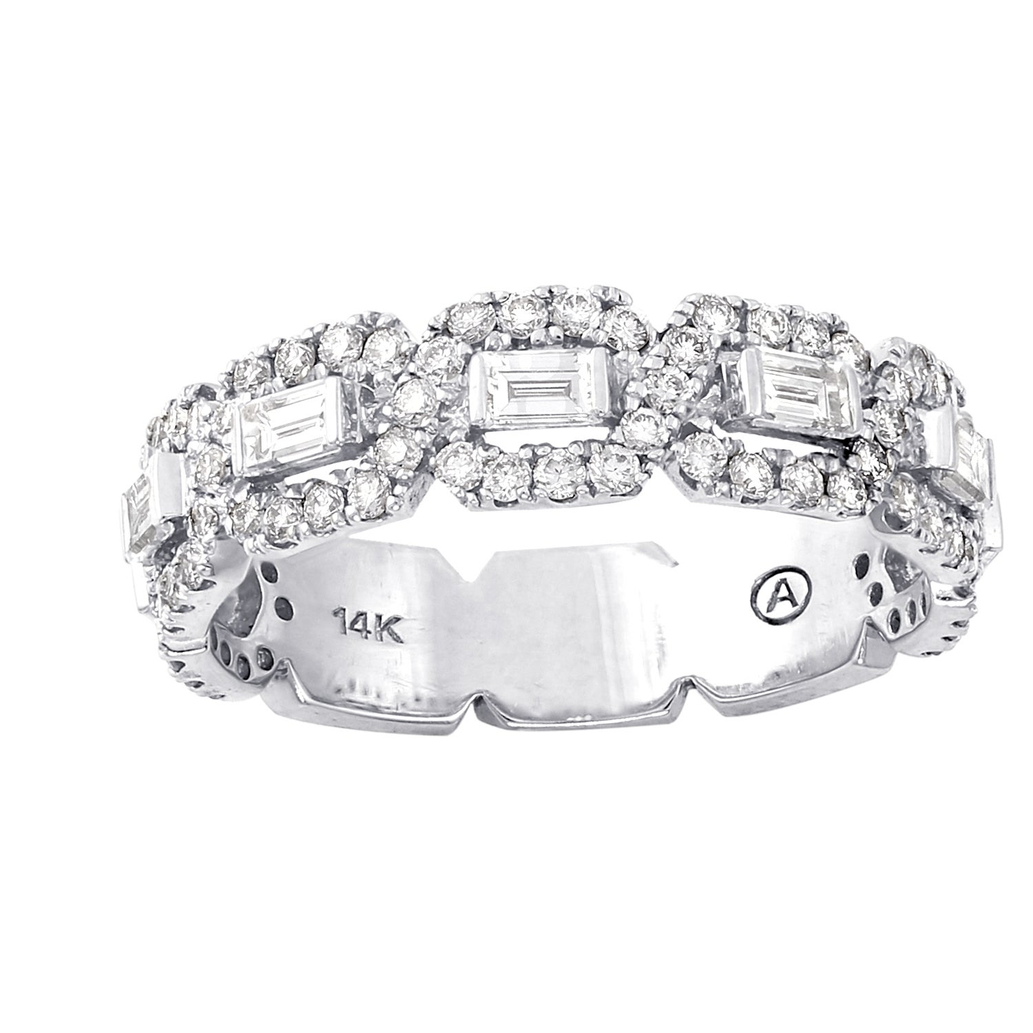 round white anniversary bands gold c bridal princess nk collection ctw halo mosaic and front cut in set diamond band