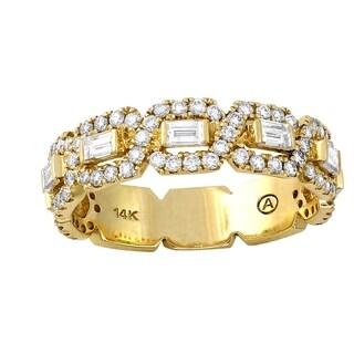 Beverly Hills Charm 14K Yellow Gold 1 1/5ct TDW Diamond Anniversary Band Ring (H-I, SI2-I1)