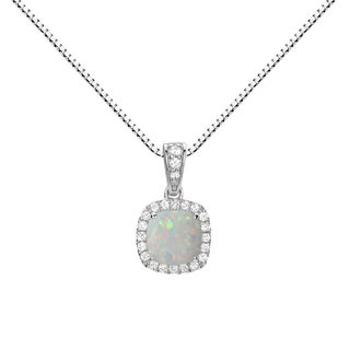 Sterling Silver Checkerboard Cushion Lab-created Opal and White Sapphire Halo Pendant Necklace