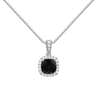 Sterling Silver Checkerboard Cushion Black Onyx Halo Pendant Necklace