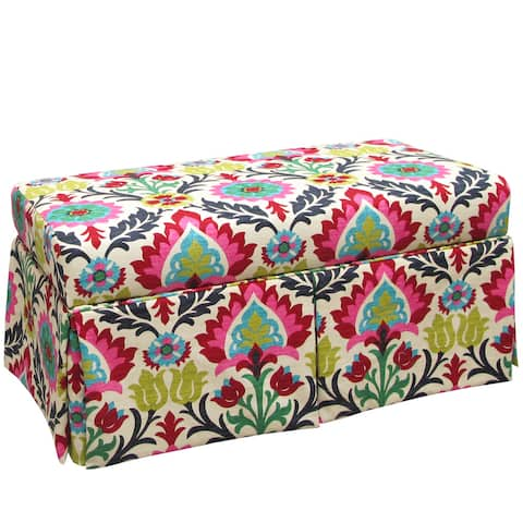 "Skyline Furniture Kids Skirted Storage Bench in Santa Maria Desert Flower - 38""W X 19""D X 18""H"