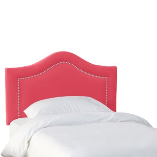 Skyline Furniture Kids Inset Nail Button Headboard in Mystere Flamingo