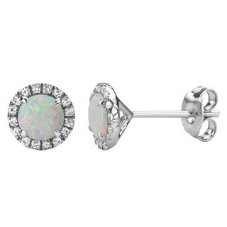 Sterling Silver Lab-created Opal and White Sapphire Halo Stud Earrings