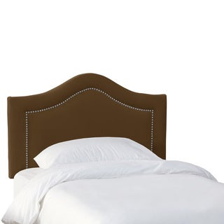 Skyline Furniture Kids Inset Nail Button Headboard in Velvet Mocha