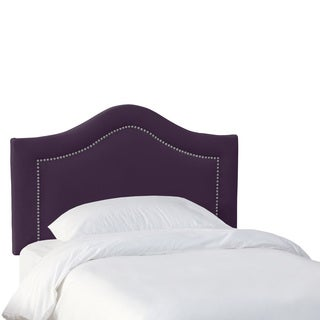 Skyline Furniture Kids Inset Nail Button Headboard in Velvet Aubergine
