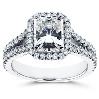 Annello by Kobelli 14k White Gold 2 1/3ct TGW Moissanite (FG) and Diamond (GH) Radiant Halo Split Shank Ring