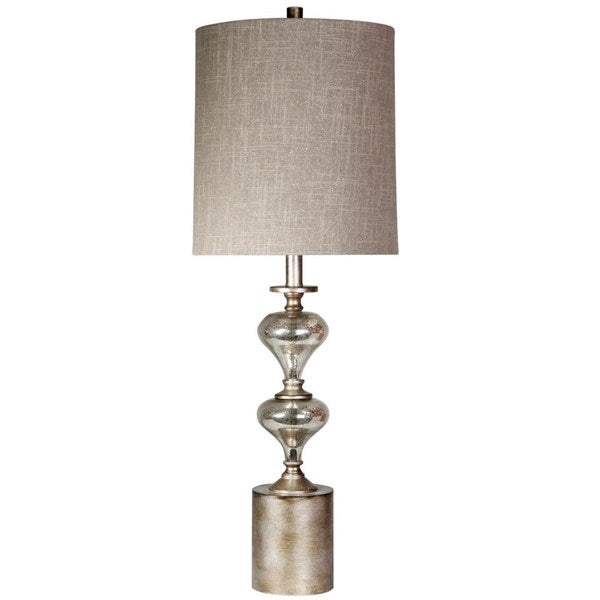 Mercury Glass and Brushed Metal Table Lamp