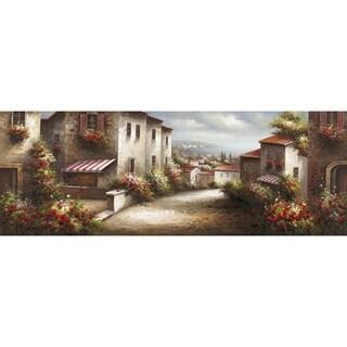 European Village European Town with Quaint Houses and Cobblestone Streets Neutral Landscape Canvas Artwork